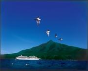 利尻富士と飛鳥II