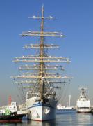 登檣礼(とうしょうれい)が披露されての出帆風景