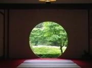 明月院の本堂より花菖蒲園を望む